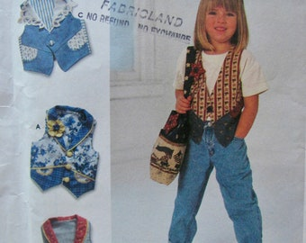 Simplicity 7147, Girls Size 5,6,7 and 8, Vests Sewing Pattern, Embellished Vests, Vests with Collars , Tote Bag with Pockets Sewing Pattern
