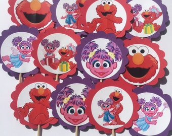 Abby Cadabby and Elmo Birthday Party Cupcake Toppers