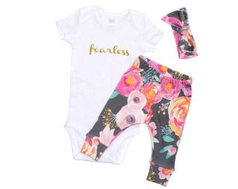 Blush Indy Bloom Newborn Take Home Outfit, Floral Leggings, Baby Watercolor Leggings, Newborn Girl Going Home Outfit, Organic Baby Clothes
