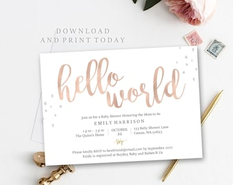 Rose Gold baby shower invitation, Hello World, editable PDF template, instant download, editable, simple, print at home