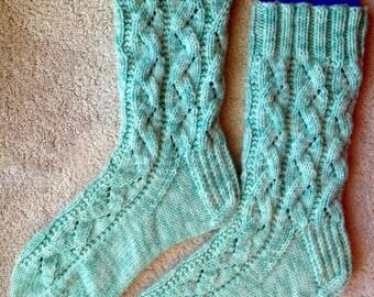 Tricotés à la main Womens Cachemire laine mélangée chaussettes (S-225)