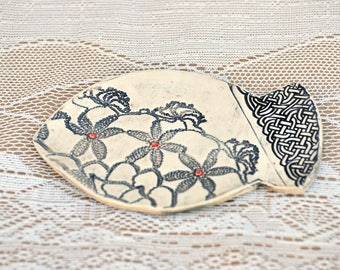 Black and White. Red Accent, Fish Dish, Soap Dish, Anything Dish, Catch All, Lace Pottery, Celtic Knot, Shabby Chic, Beach, Gift Under 15