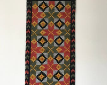 Vintage Norwegian Tapestry with Metal Hanging or Table Runner, Wool Embroidery, 1970s Scandinavian Style Wall Decoration