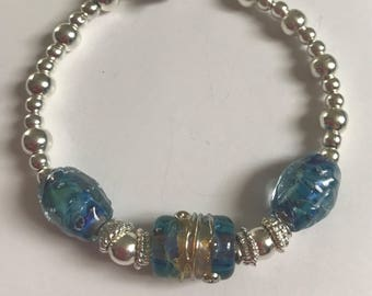 BEAUTIFUL blue lampwork and silver bracelet