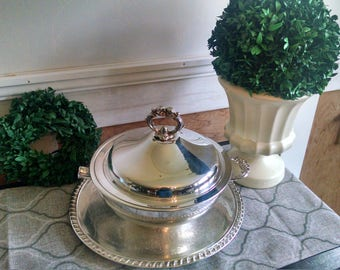 Vintage silver plated chasing bowl with lid~leonard silver bowl~vintage silver platter