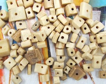 Tea Stained Bone Beads, Square Buffalo Bone, Beige Cubes, Cream Rectangle, Spacers, Rustic Beads, 25 Pcs, 6271
