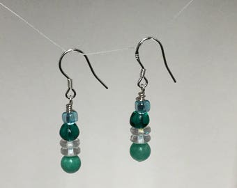 Turquoise lampwork glass bead sterling silver earrings