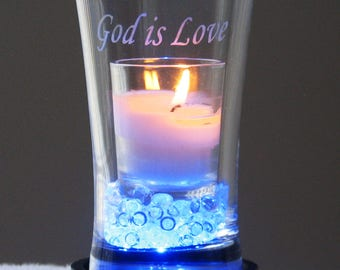 God is Love - Engraved Candle Vase (blue)