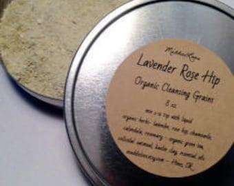 FREE SHIPPING-ORGANIC /Vegan-Lavender Rose Hip Cleansing Grains- Sensitive Skin- Gentle for Everyday-8oz. tin