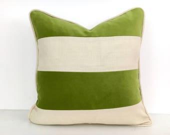 Green Striped Pillow Cover - Green Velvet and Off-White Linen Pillow Cover