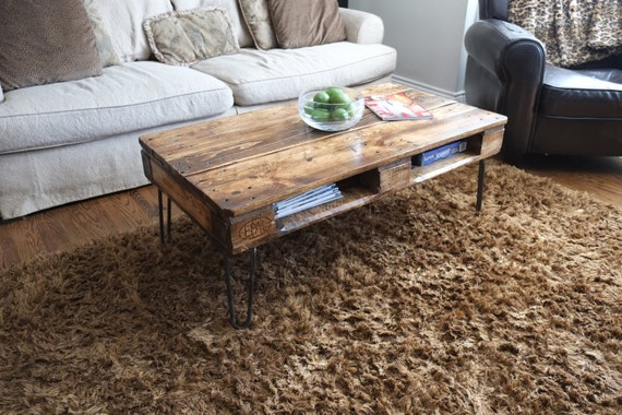 antique pallet or skid coffee tables on hairpin legs. Black Bedroom Furniture Sets. Home Design Ideas