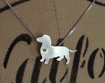 Dachshund Dog Necklace, Sterling Silver Doxie Small Pendant, Breed Silhouette, Resue Shelter, Mothers Day Gift