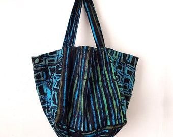 Cube Tote, Turquoise and Green Tote, Batik Tote bag, Shopper tote bag, Medium tote bag, Handmade beach bag, Turquoise tote