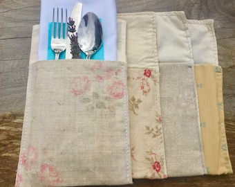 Gorgeous Fabric Cutlery Pouches made to order with calico lining and a variety of different designs. Price for set of 6.