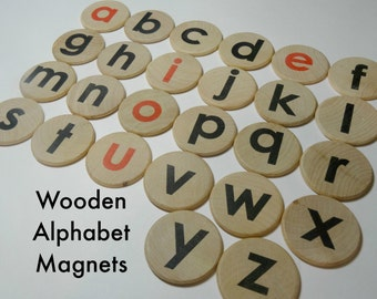 Wooden alphabet magnets - choose red or black vowels, magnetic alphabet discs, magnetic letters, lowercase letter magnets red vowels