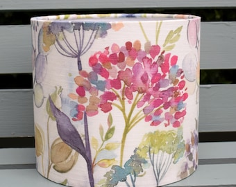 Drum lampshade light shade pendant table lamp in Voyage Maison Country Hedgerow cream floral woodland fabric 20cm