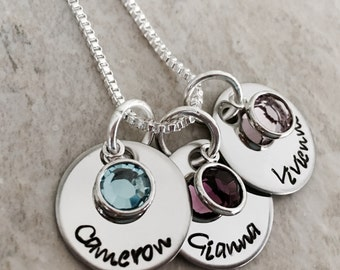 Personalized name necklace with birthstone crystals mothers necklace with kids names custom monogrammed necklace gift for mom grandma
