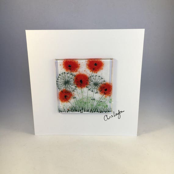 Fused Glass Greeting Card Handmade Floral Poppies