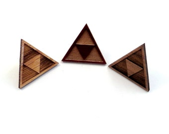 Tri Force Hat Pins - Sustainably Harvested Oak, Walnut or Red Stained Maple - Triforce backpack button