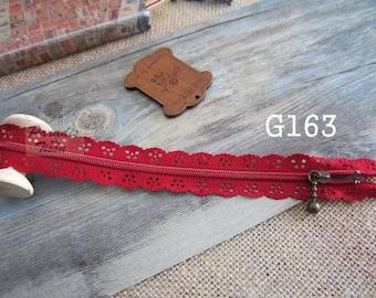 2 x zippers fancy lace lace red G163 20 cm
