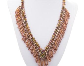 V Shaped necklace, Choker necklace, Rainbow colors, Elegant necklace, Beaded necklace, Beaded collar