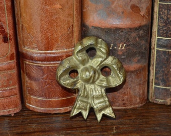 Antique French Bow Bronze Ormolu Picture Hook Cover Hardware