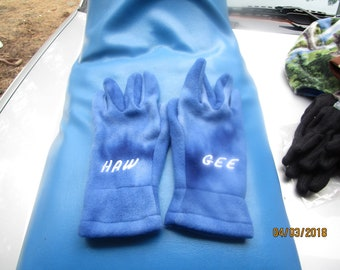 Fleece winter gloves  with gee/haw embroidered on them in various colors