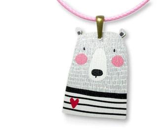 Kids Jewellery Necklace WOODEN ***HEART BEAR***
