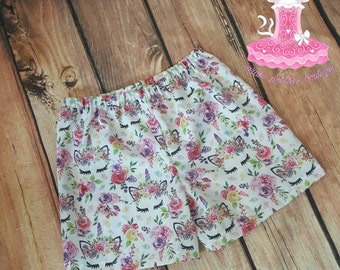 Sleepy unicorn pink floral girl shorts
