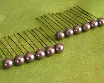 12 Burgundy 10mm Swarovski Crystal Pearl Hair Pins