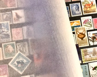 Large A4 Green Stamp album with more than 700 used postage stamps from 97 countries  - collection philately paper - crafts, collecting, art