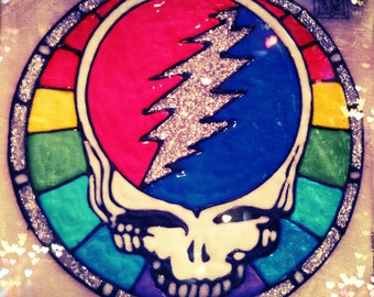 CUSTOM MaDe to ORDeR...  GRaTeFuL DeaD GD Steal Your Face -- ViNyL DeCAL - CLiNGs on to WiNDoWs and MiRRoRs - ReMoVes Easy and STiCKs AGaiN