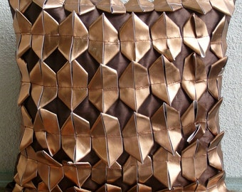 Copper Age - Pillow Sham Covers - 24x24  Inches Silk Pillow Sham Cover with 3D Metallic Leather
