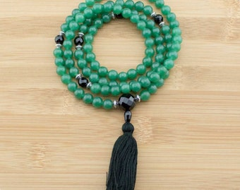 Green Aventurine Mala Necklace with Faceted Black Onyx | 8mm | 108 Buddhist Prayer Meditation Beads with Tassel | Free Shipping