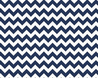 SALE Riley Blake Small Navy Chevron Fat Quarter Cotton Fabric