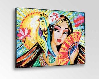 Sun Geisha Japanese Bird Parrot Girl Woman Garden Painting, home decor wall decor woman art, ACEO wood block, ABDG