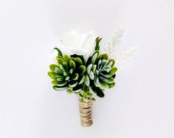 Boutonniere Succulent Boutonniere Greenery Buttonholes Wedding Buttonhole Flower Succulent Pin Buttonhole Rose