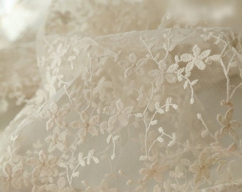 Ivory Bridal Lace Fabric, Retro Cotton Floral Embroidered Lace, Chic Wedding Dress Lace, Veil Lace Fabric, fabric by yard