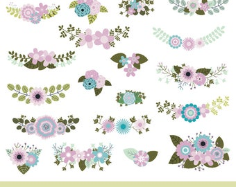 Mint Violet Green Floral Clipart Rustic Wedding Flowers Clip Art Vintage Bouquet Bunch