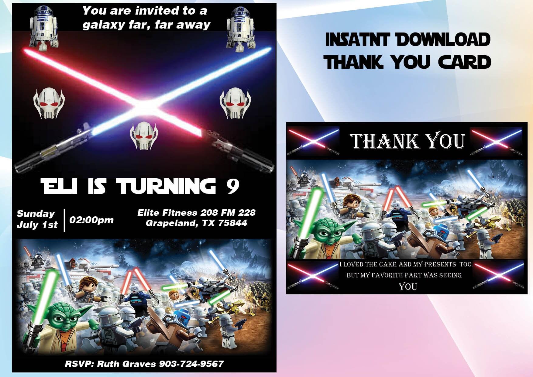 Lego Star Wars invitation thank you card Star Wars