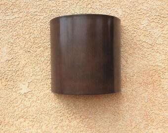 Dark Patina Half Round // Copper Light Sconce