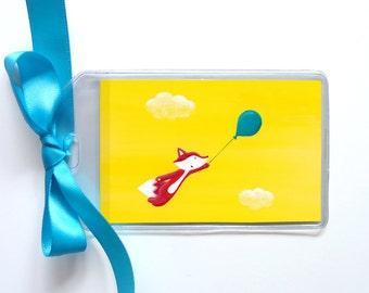 Balloon Fox Luggage Tag - Colorful Bag Tag