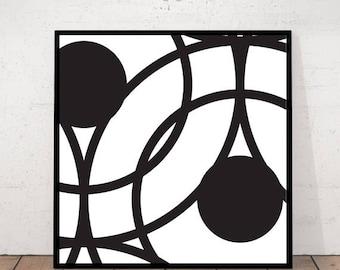 Circle Print, Minimalist Wall Art, Digital Print, Geometric Print, Black and White Print, DIY Home Decor, Scandinavian Modern, Modern