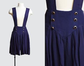 Vintage 90s Suspenders Playsuit Grunge Romper / 1990s One Piece Mini Dress Playsuit Shorts Sleeveless Navy Blue s m