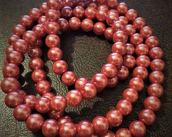32 Inch Strand of 8mm Cranberry Glass Pearls.  108 Total