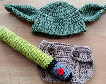 Crocheted Yoda baby
