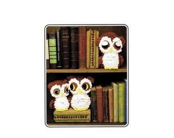 SALE Annies Attic Owl Family Bookends Crochet Pattern