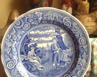 French Country Toile Spode Blue Collection Woodman plate