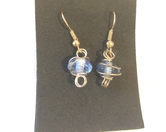 Dangle Earrings--Blue Glass Bead with Silver Wire Wrapping