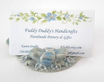 Bird Business Card Holder - Ceramic Business card holder Blue Opal - Business Card Holder for Desk - Pottery Business Card Holder
